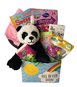 Little Girls Toddler Feel Better Get Well Gift Box with Activities Plush and Comfort Items