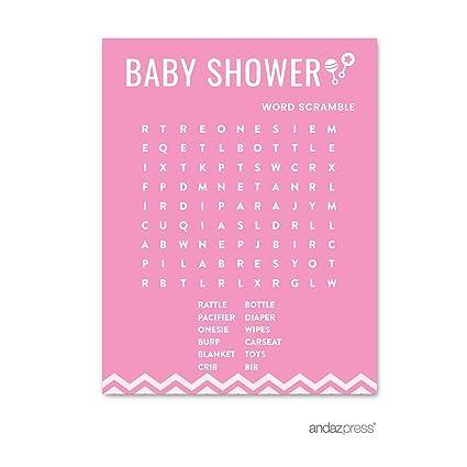 Andaz prensa rosa Chevron niña bebé ducha Collection, Cards Word Search, 1
