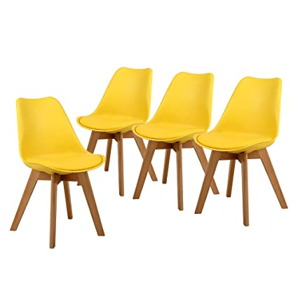 NOBPEINT Eames Style Mid Century Dining Chairs,Set Of 4(Yellow)
