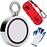 EVISWIY 1700LBS Fishing Magnets with Rope 65FT Carabiner Glove Large Strong Heavy Duty Rare Earth Neodymium N52 Double…