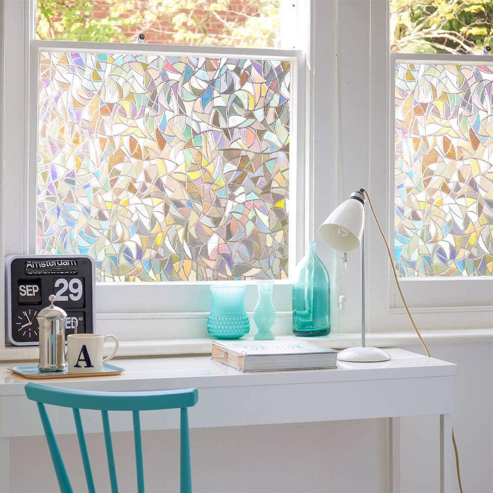 3D No Glue Window Privacy Film Static Window Clings Decorative Film Rainbow Window Film Prism Effect Window Stickers for Home Glass Door Kitchen Heat Control Anti UV (23.6x78.7 inches)