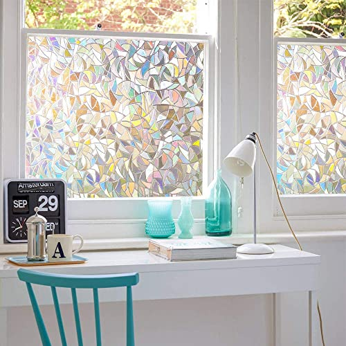 3D No Glue Window Privacy Film Static Window Clings Decorative Film Rainbow Window Film Prism Effect Window Stickers for Home Glass Door Kitchen Heat Control Anti UV 35.4X118 inches