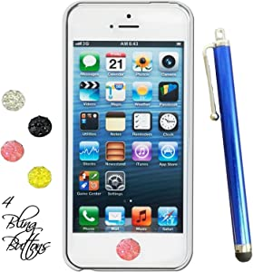 Rhinestone Home Buttons stickers Set of Four Plus Stylus Pen Fits Apple Ipad Mini Iphone 3g 4g 5g 6 Ipad Air Ipod Touch (Blue)
