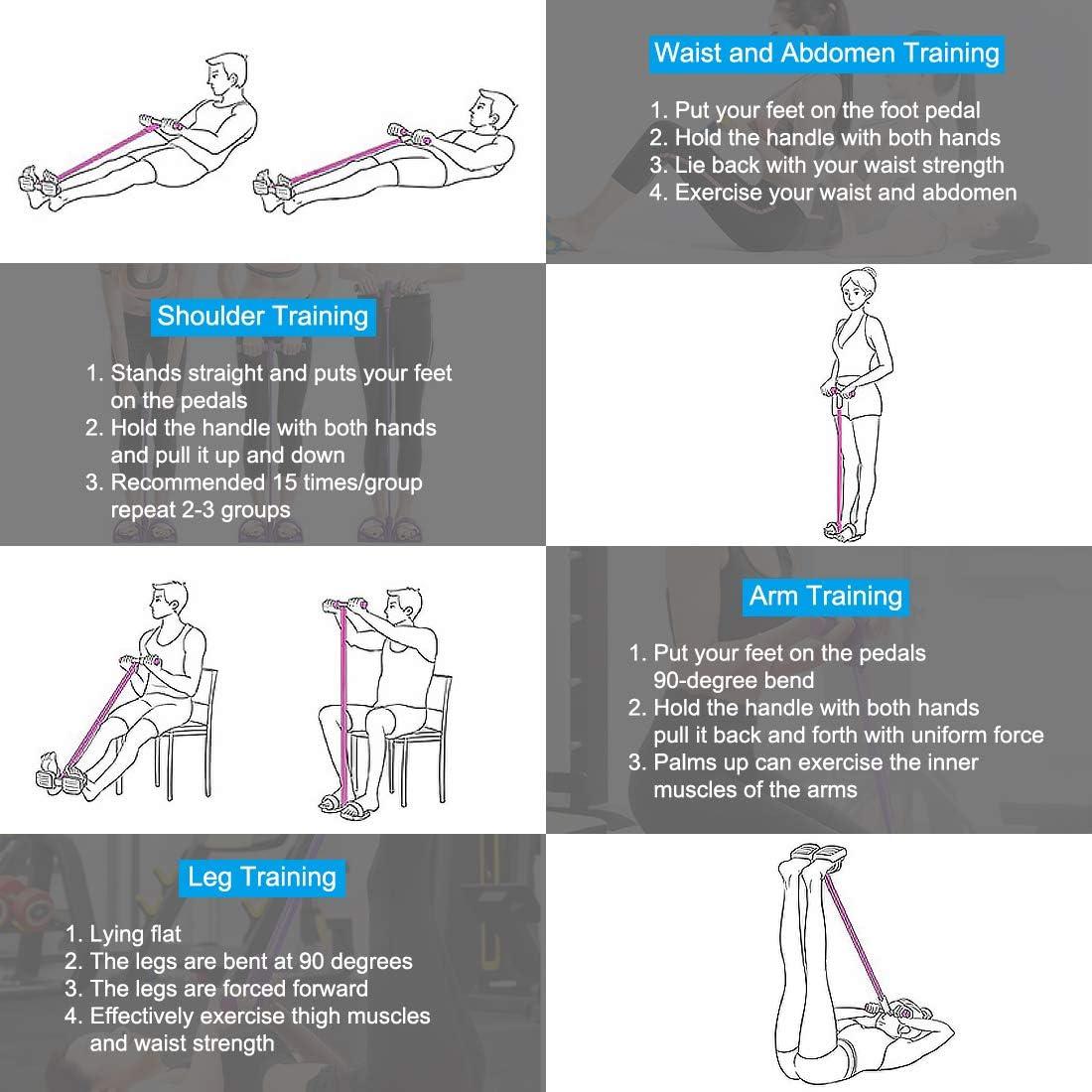Multifunzione Resistenza Allenamento 4 Tubi Leg Exerciser Pull Rope Band Yoga Fitness Pedal Pull Rope Sit-up Bodybuilding Expander Resistenza Esercizio Fasce per Attrezzatura Casa Rosso
