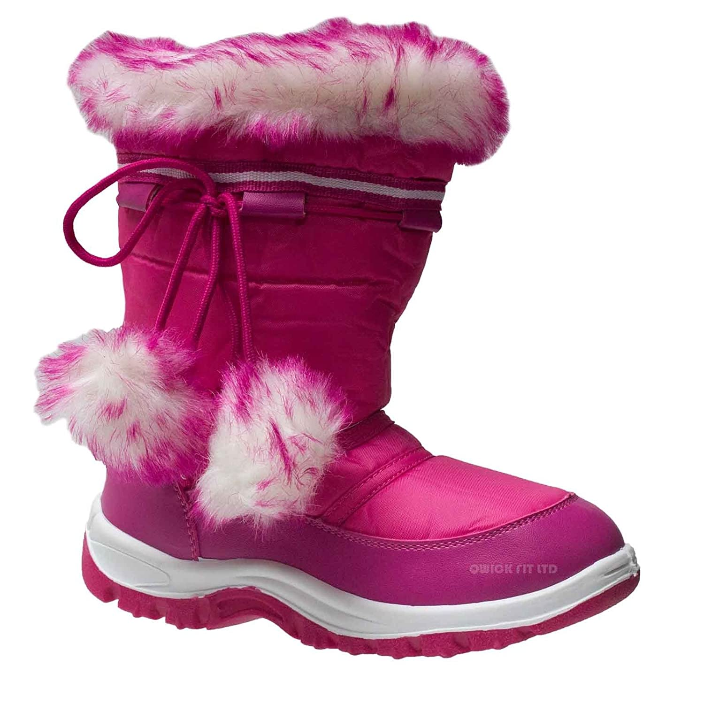 **GIRLS WINTER KIDS FUR SNOW MOON MUCKER WATERPROOF  WELLIES BOOTS SHOES