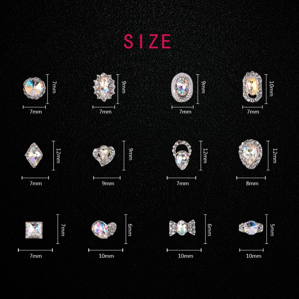 12Pcs/Box Luxury Charm Clear AB Alloy Nail Rhinestone Diamond Decorations Wheel 3D Mix Designs Manicure Tools by DKjiaoso