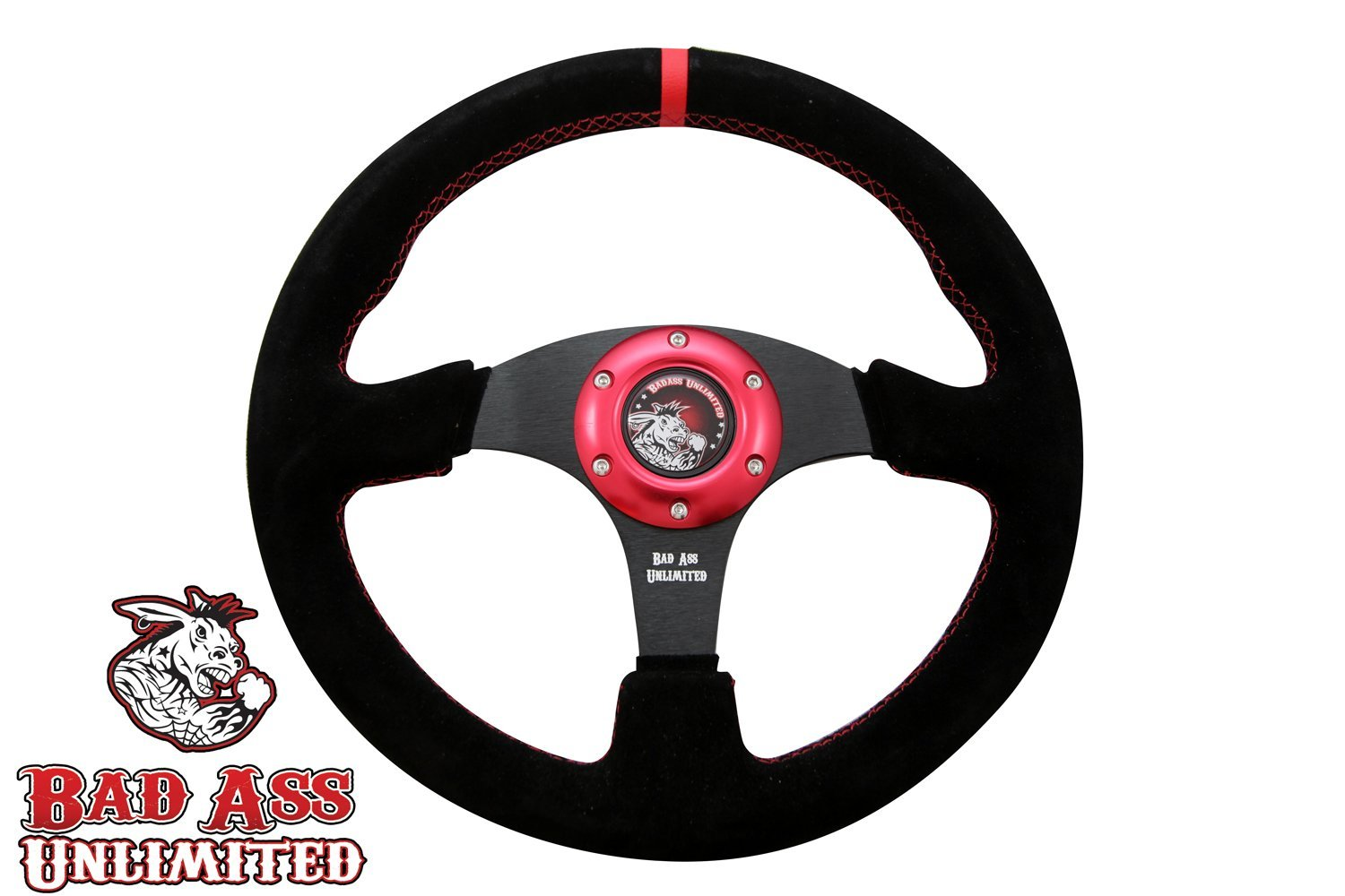 Polaris RZR XP 1000 Suede Steering Wheel with Red Stitching