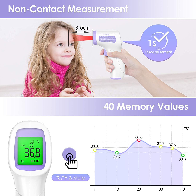 Thermometre 2 en 1 avec Fonction M/émoire et Alarme de Fi/èvre. Enfants Thermometre Frontal Infrarouge JOYSKY Thermom/ètre sans Contact Thermometre Frontal Pour B/éb/és Adultes et objets
