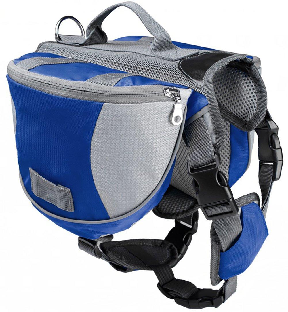 bluee M bluee M Dog Backpack, Hound Adjustable Saddlebag for Travel Camping Hiking Hunting, Fits Medium to Large Dogs