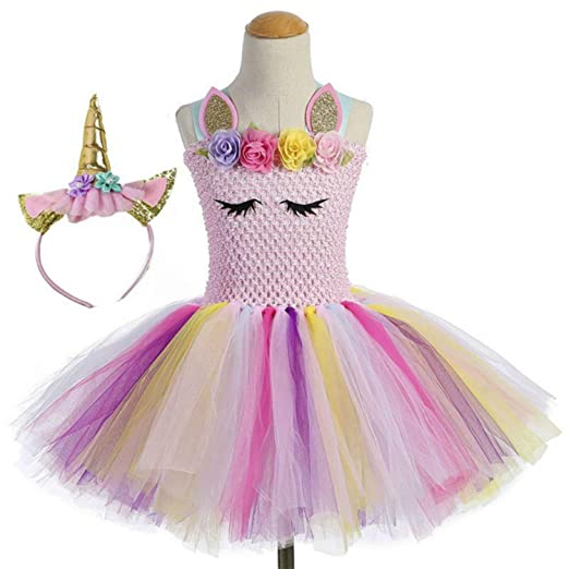 1308426e9fb8b Moda Unicorn Tutu Dress for Girls Kids Birthday Party Unicorn Costume  Outfit with Headband
