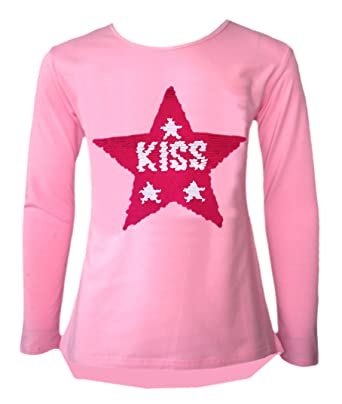 Image Unavailable. Image not available for. Color  Kids Girls Changing  Sequin Sizes Heart Butterfly Tops ... 86354337ad37