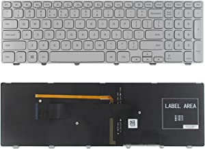 SUNMALL New Laptop Replacement Keyboard with Backlit and Frame Compatible with Dell Inspiron 15-7000 7537 Series Silver US Layout