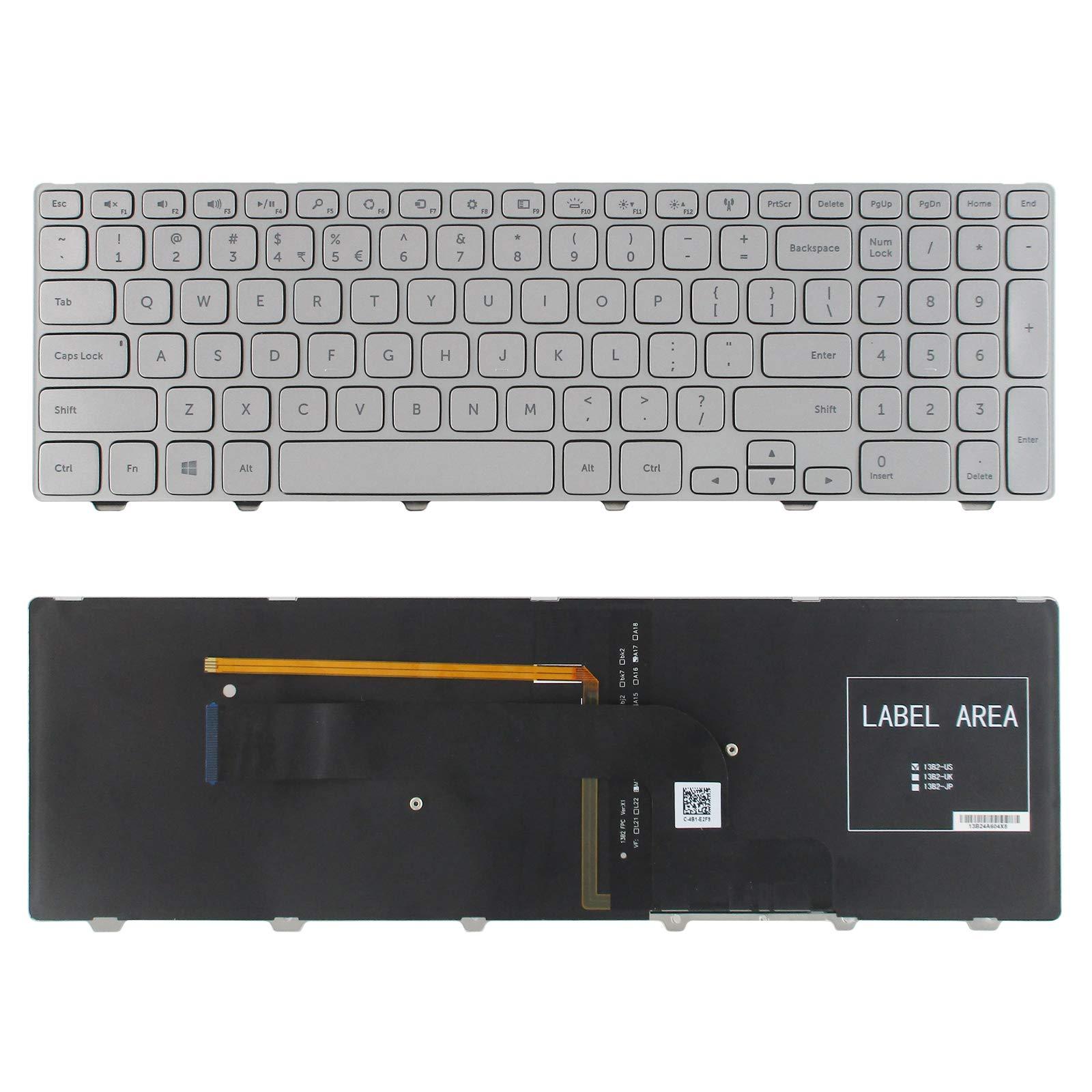 Teclado USA para Dell Inspiron 15-7000 7537 Series Silver US