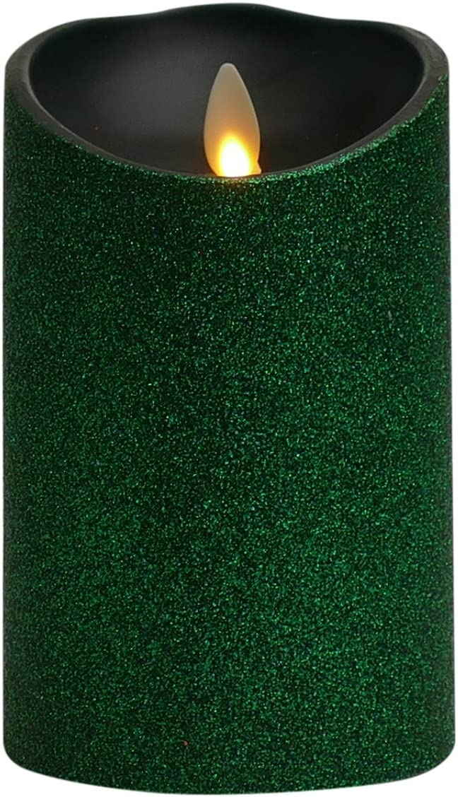 Liown Flameless Candle Unscented Moving Flame Candle with Timer Green Glitter