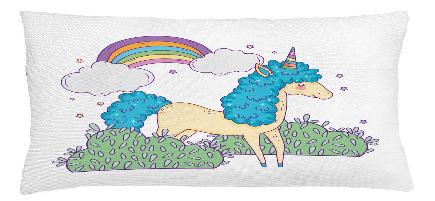 Lunarable Rainbow Throw Pillow Cushion Cover, Hand Drawn Doodle Funny Little Unicorn with Clouds and Bushes Nursery Themed Art, Decorative Accent Pillow Case, 36'' X 16'', Multicolor