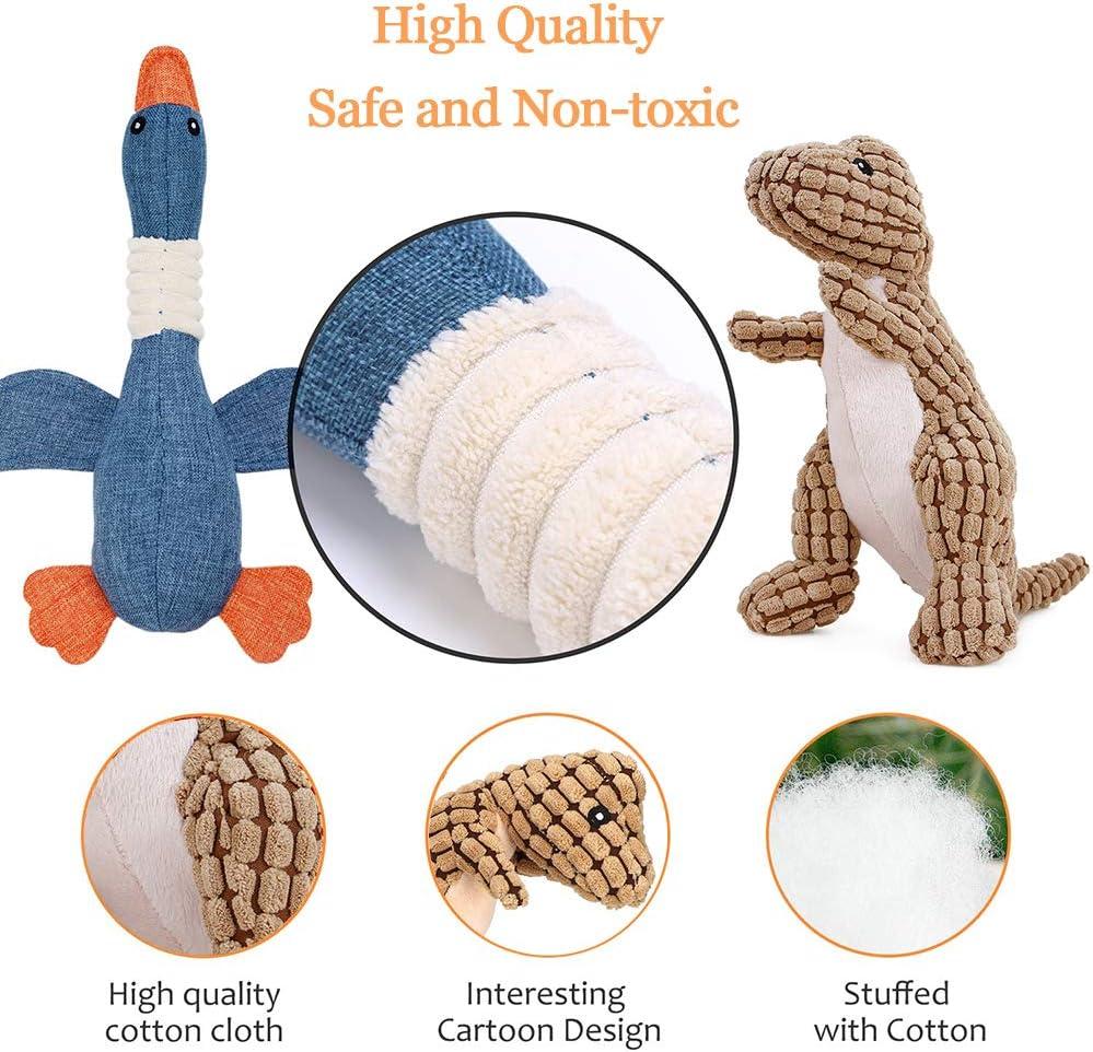 Hcpet Pack de 6 Squeaky Juguetes de Perros, Juguetes con Sonido para Perros - Mono, Dinosaurio, Ganso Salvaje, Conejo, Elefante y Toro: Amazon.es: Productos para mascotas