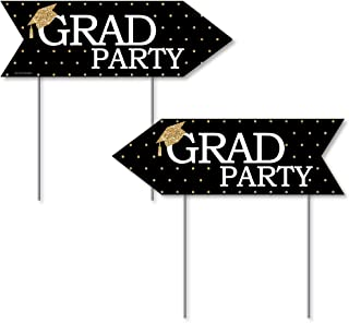 product image for Big Dot of Happiness Gold - Tassel Worth The Hassle - Graduation Party Sign Arrow - Double Sided Directional Yard Signs - Set of 2