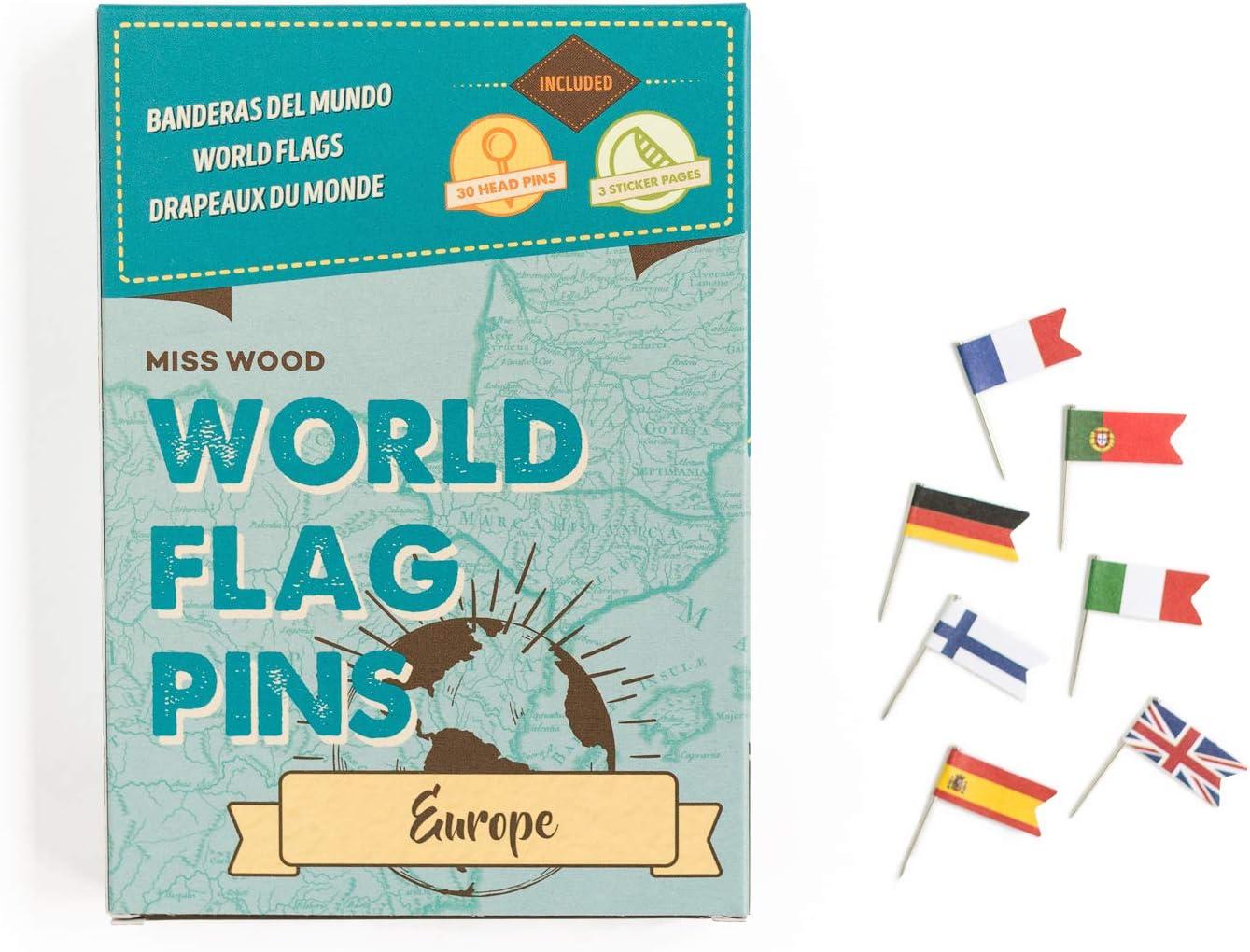 Miss Wood Europa Banderas del Mundo. Chinchetas con adhesivo: Amazon.es: Hogar