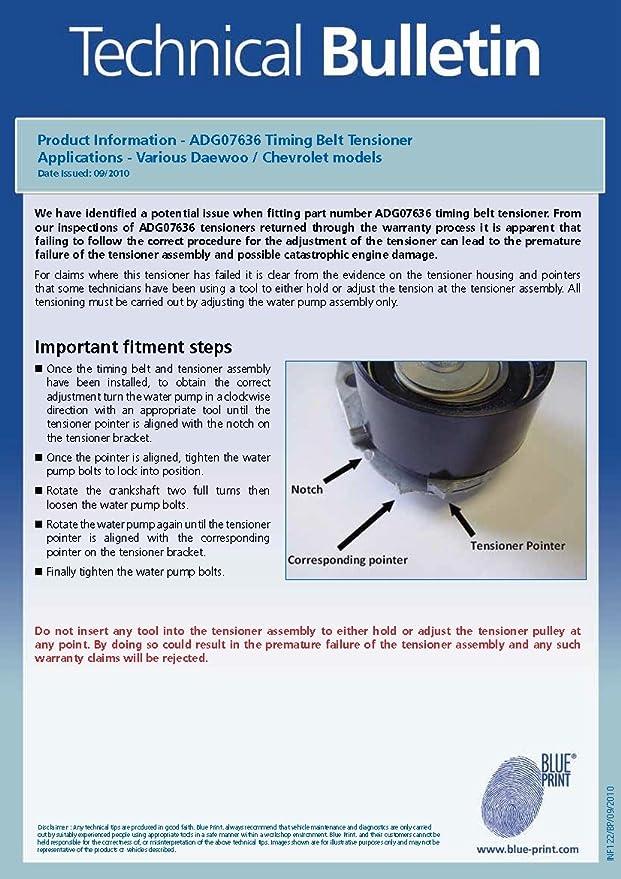 Blue Print ADG07636 cojinete tensor de correa de distribución: Amazon.es: Coche y moto