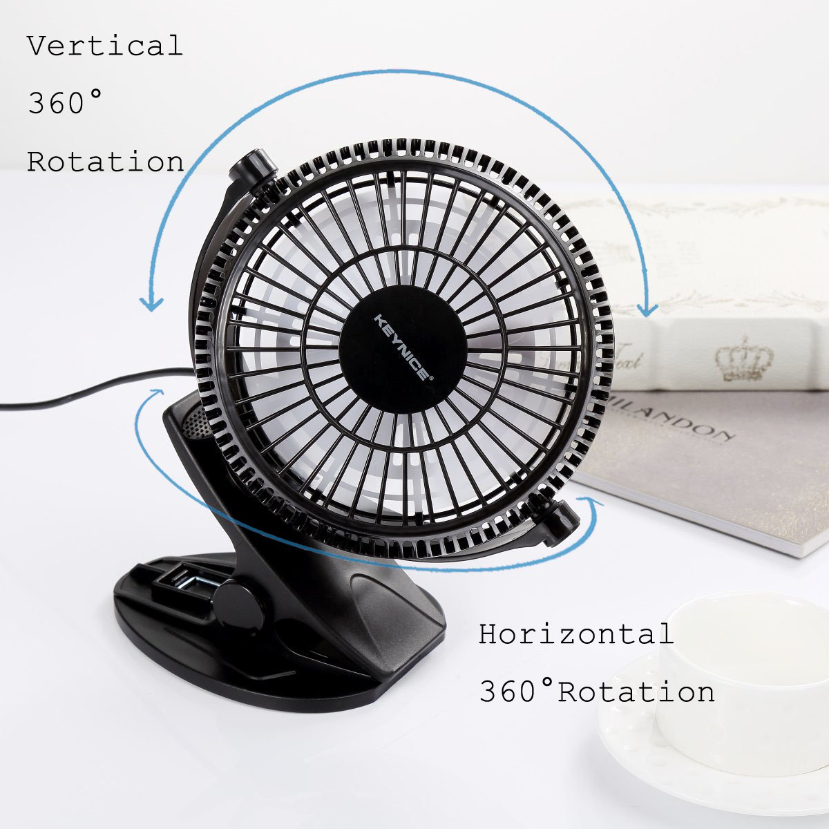 KEYNICE USB Clip Desk Personal Fan, Table Fans,Clip on Fan,2 in 1 Applications, Strong Wind, 2 in 1 Applications, Strong Wind, 4 inch 2 Speed Portable Cooling Fan USB Powered by Netbook, PC by KEYNICE (Image #3)
