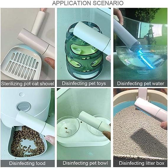 Portable UV Light Sanitizer Wand Ultraviolet Disinfection Lamp Handheld Mini UV-C Light Sterilizer for Travel Home Hotel Wardrobe Toilet Car Pet Area 1Pack