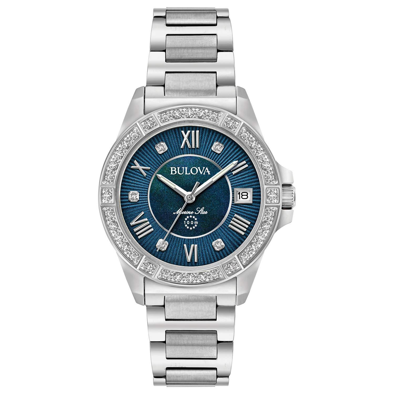 CDM product Bulova Women's 32mm Blue Marine Star Stainless Steel and Diamond Bracelet Watch big image