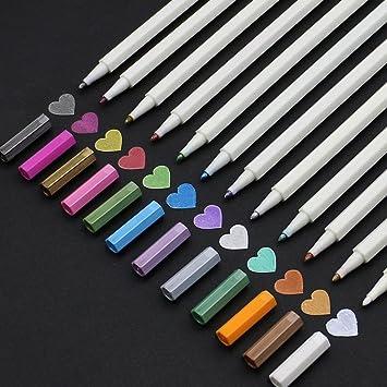 Tian Super Liso Sin Sangrado Rotuladores De Color Metálico Set Of 12 Colores Vibrantes Para Libros De Colorear Para Adultos Card Making Bullet