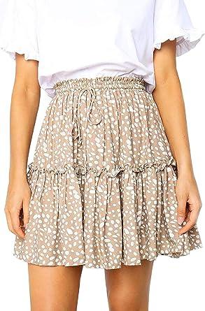 Nevera Women Flared Short Skirt Polka Dot Pleated Mini Skater Skirt with Drawstring