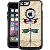 Protective Designer Vinyl Skin Decals for OtterBox Commuter iPhone 6 / 6S Case / Cover - Vintage Dragonflies Retro Design Pattern - Only SKINS and NOT Case - by [TeleSkins]