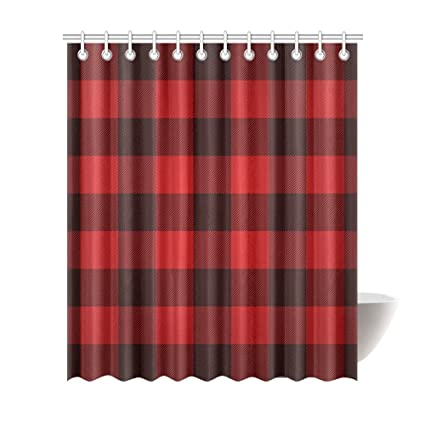 Image Unavailable Not Available For Color InterestPrint Custom Shower Curtain Red Check