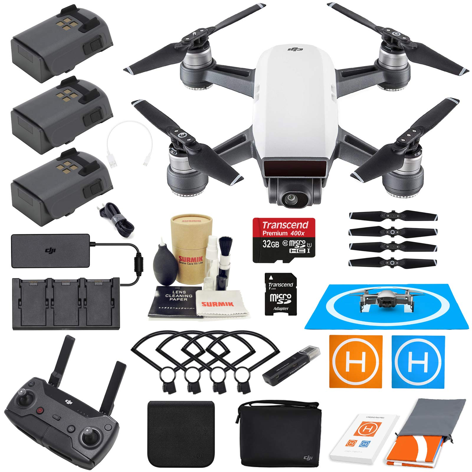 DJI Spark Drone Quadcopter Fly More Combo (Alpine White ...