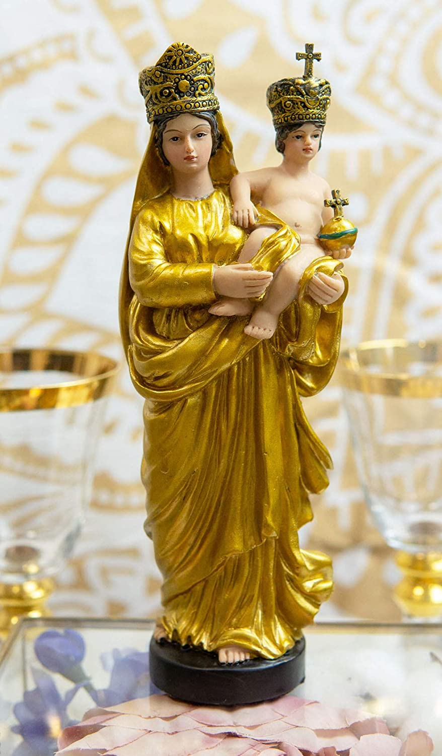 Ebros Gift Golden Robe Our Lady of Prompt Succor Blessed Virgin Mary with Baby Jesus Catholic Venerated Figurine 8.75
