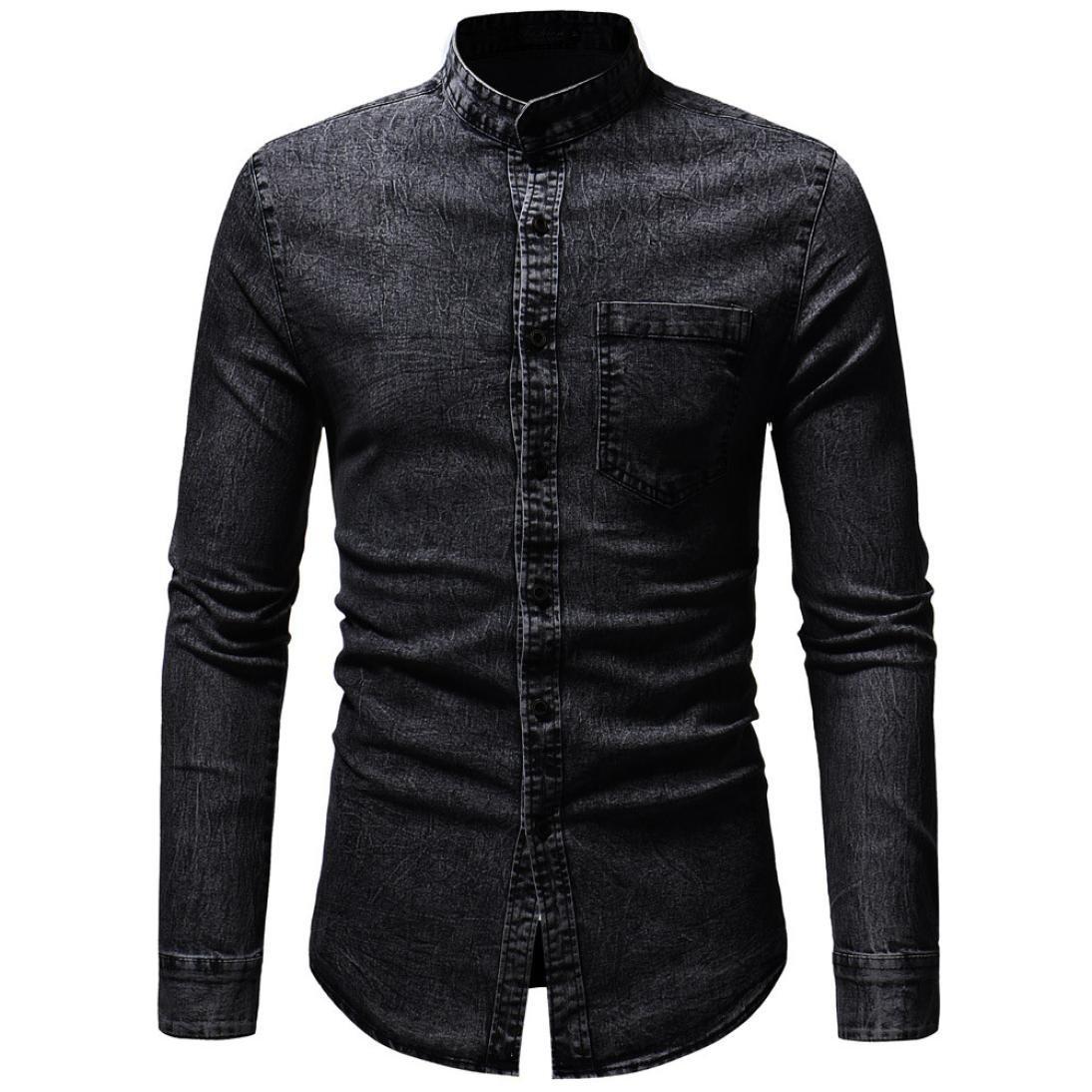 Pervobs Long Sleeve Shirts, Big Promotion! Men's Autumn Vintage Distressed Solid Denim Long Sleeve Button Down Shirt Top Blouse (M, Black)