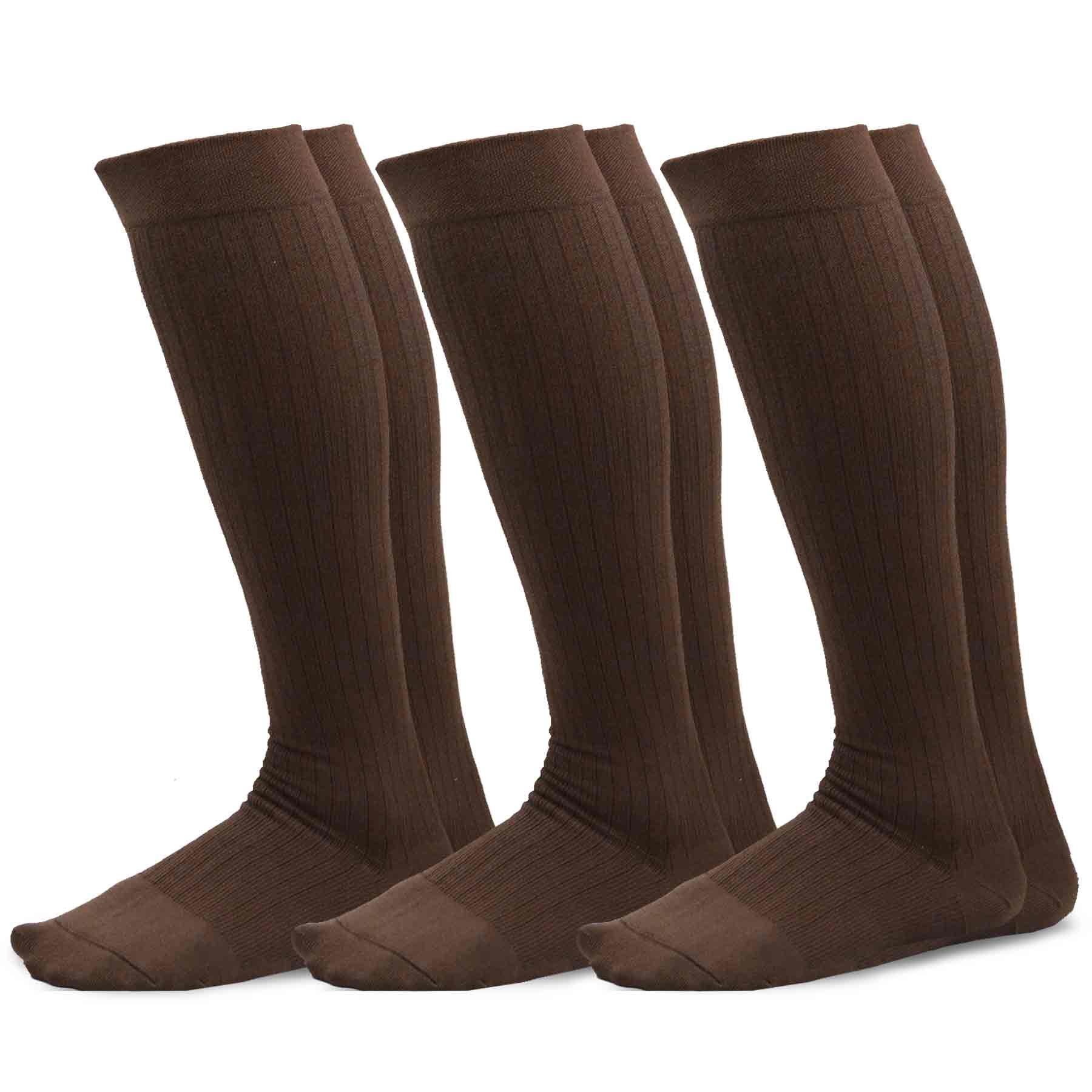 TeeHee Microfiber Compression Knee High Socks with Rib 3-Pack (Small (8-9), Brown)