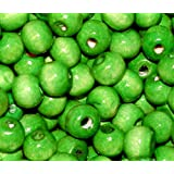 JSB ~ 200 x Green Wooden Beads (7mm) + *FREE ELASTIC BEADING THREAD&*