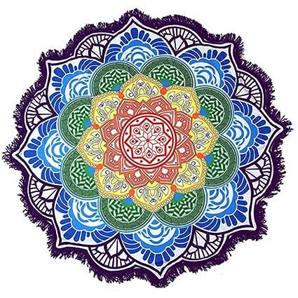Padory Bohemia Flor Impresión Toalla de Playa con Borla Redonda Colorido Lotus