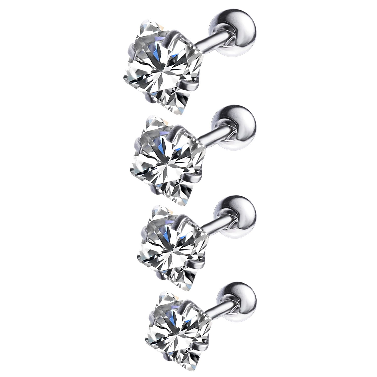 BodyJ4You 4-12PCS Tragus Piercing CZ Crystal Stud Earring Set 16G Surgical Steel Ear Barbell Pack (1.2mm) BR3761