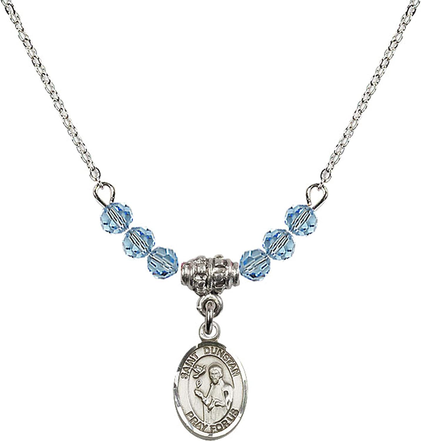 Bonyak Jewelry 18 Inch Rhodium Plated Necklace w// 4mm Blue March Birth Month Stone Beads and Saint Dunstan Charm