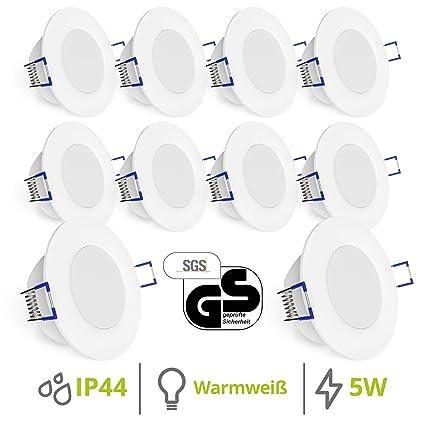 linovum® WEEVO IP44 LED Einbauleuchten 10er Set extra flach - Downlight in warmweiß 2700K 5W für Bad, Küche, Möbel oder außen