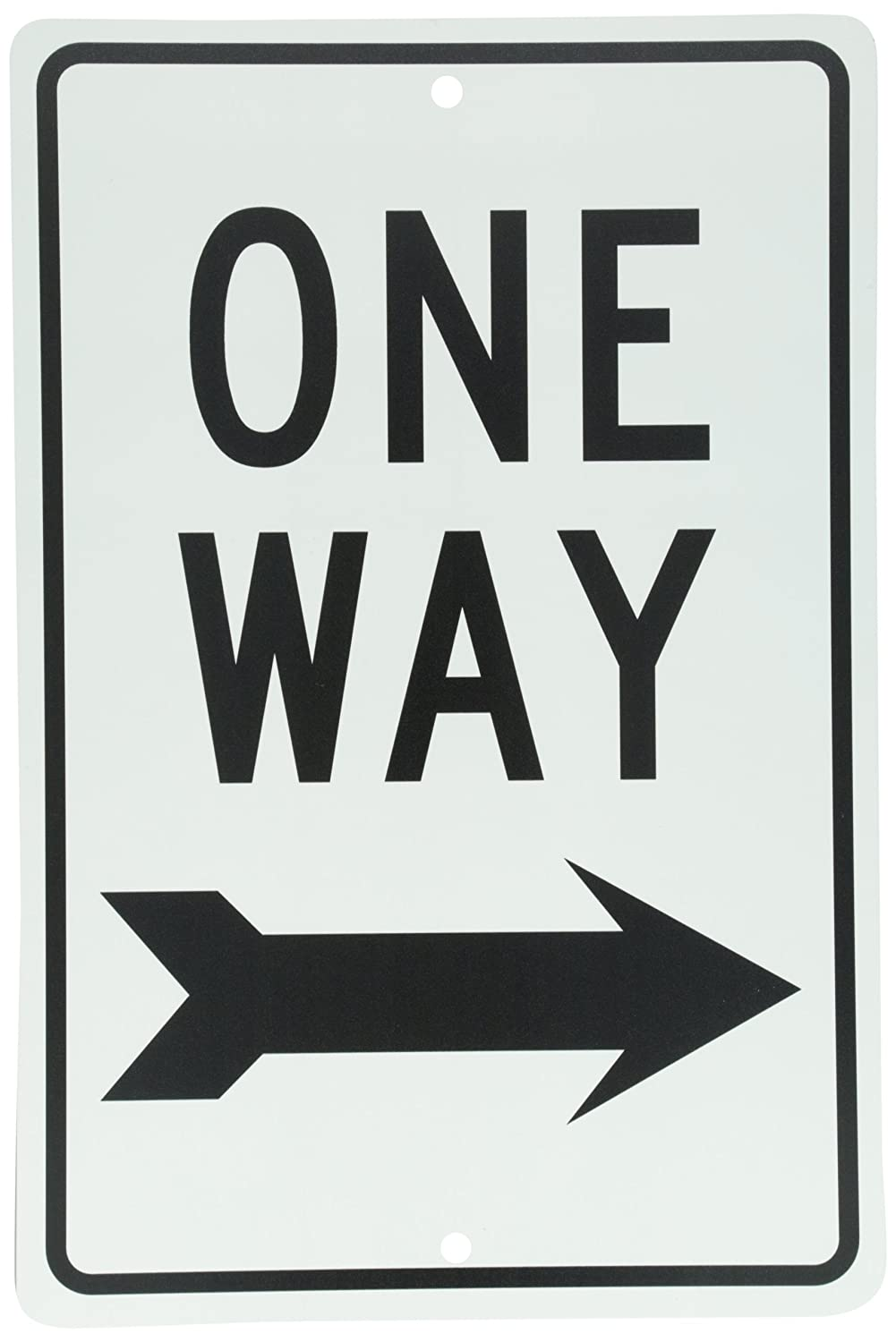Legend ONE WAY with Right Arrow Graphic 12 Length x 18 Height NMC TM23G Traffic Sign Black On White Legend ONE WAY with Right Arrow Graphic 12 Length x 18 Height NMCTM23G 0.040 Aluminum
