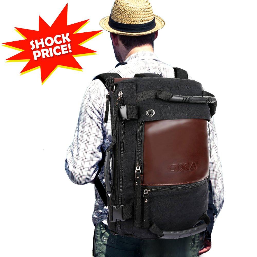 OXA Duffel Bag Travel Canvas Backpack for Men,10''(L) x 15''(H) x 6''(W) Black