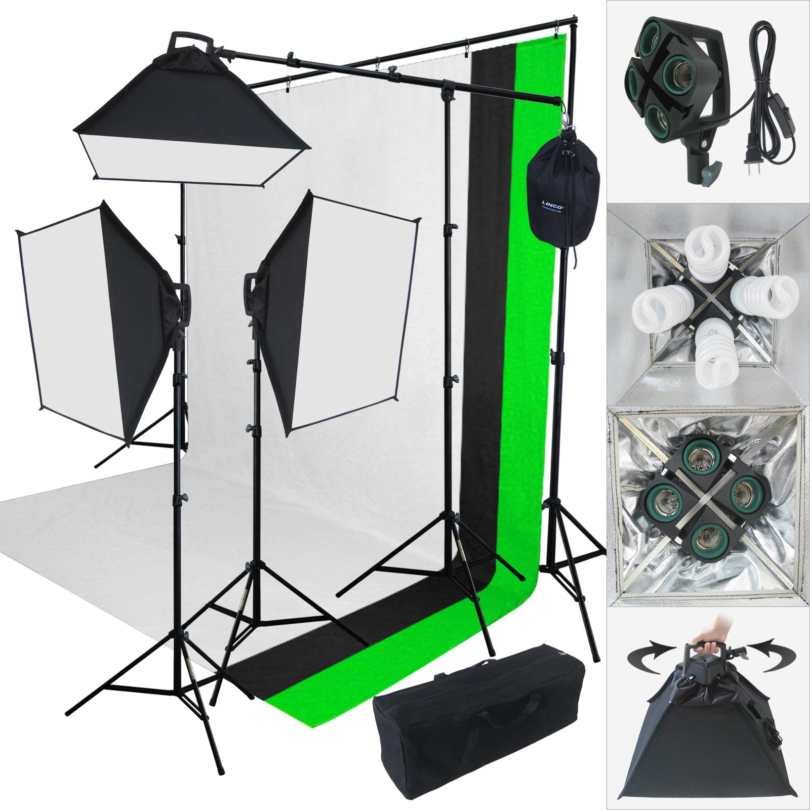 Linco Lincostore 2000 Watt Photo Studio Lighting Kit With 3 Color Muslin Backdrop Stand Photography Flora X Fluorescent 4-Socket Light Bank and Auto Pop-Up Softbox - Only takes 3 seconds to Set-up by Linco