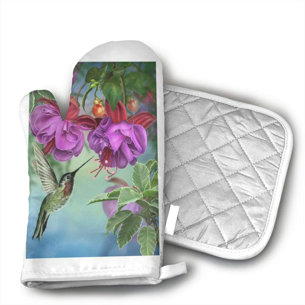 GUYDHL Spring Hummingbird Long Print for 2 Pair Oven Mitt and Pot Holder for Cooking,Barbecue,Baking,Grilling