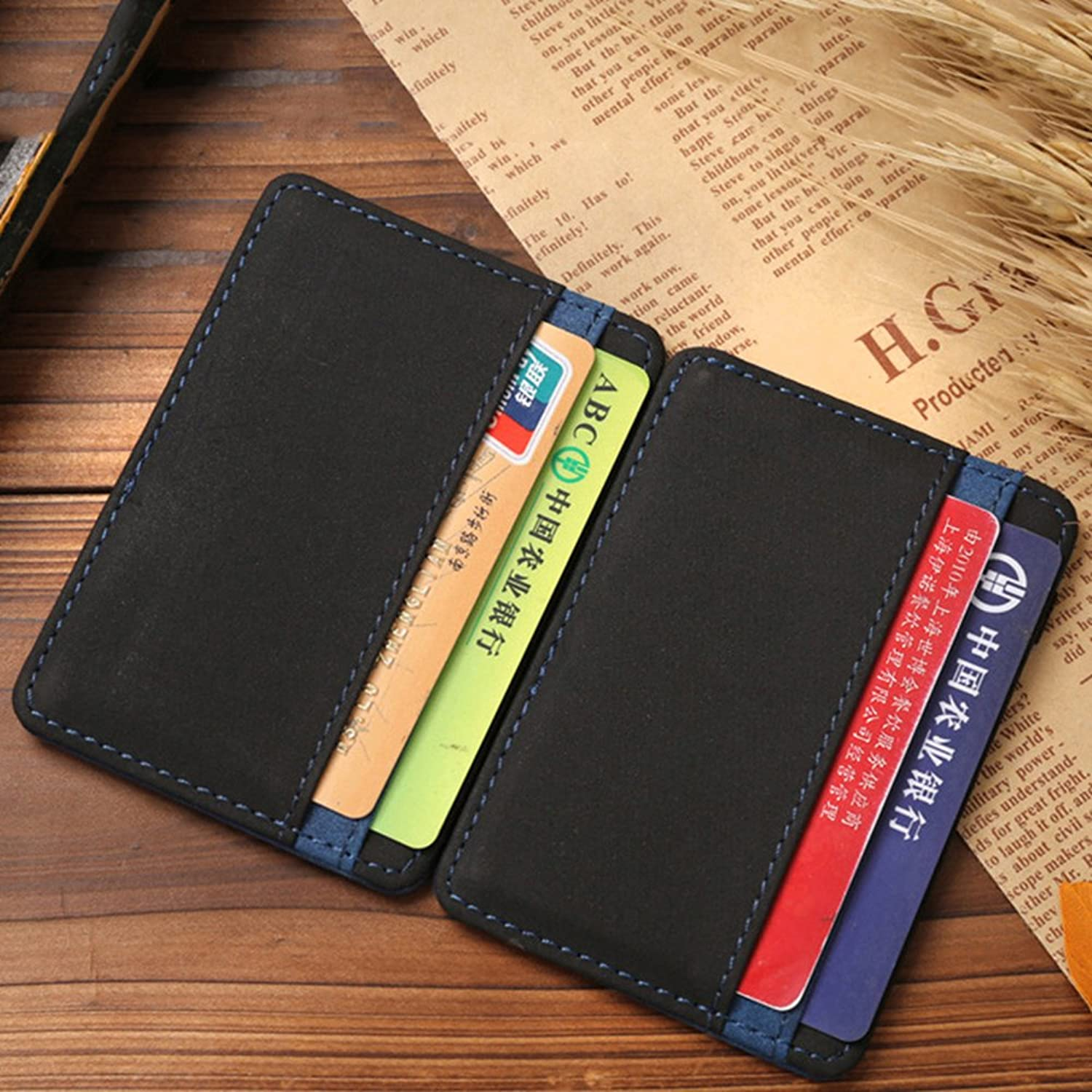 Faux Leather Mens Slim Magic Money Clip Wallet Credit Card Id Holder