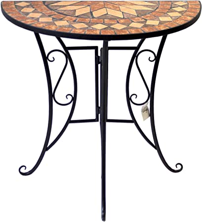 Amazon De Wohaga Mosaik Gartentisch Halbrund 70x35cm Mosaiktisch