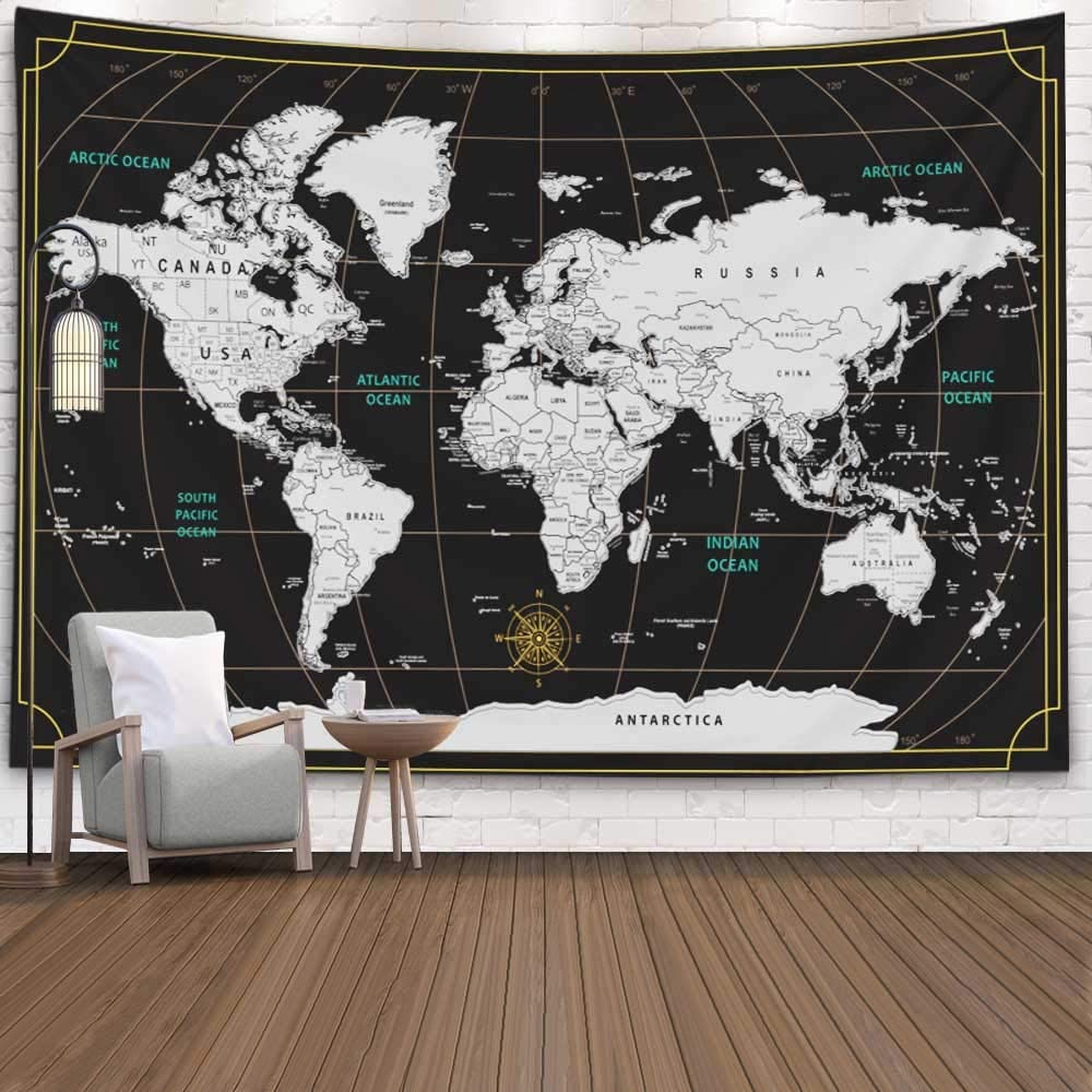 Capsceoll World Map Tapestry,92.5X70.9 Inches Colorful Tapestry Scratch Travel Map World Black Background Home Decorations for Living Room Bedroom Dorm Decor