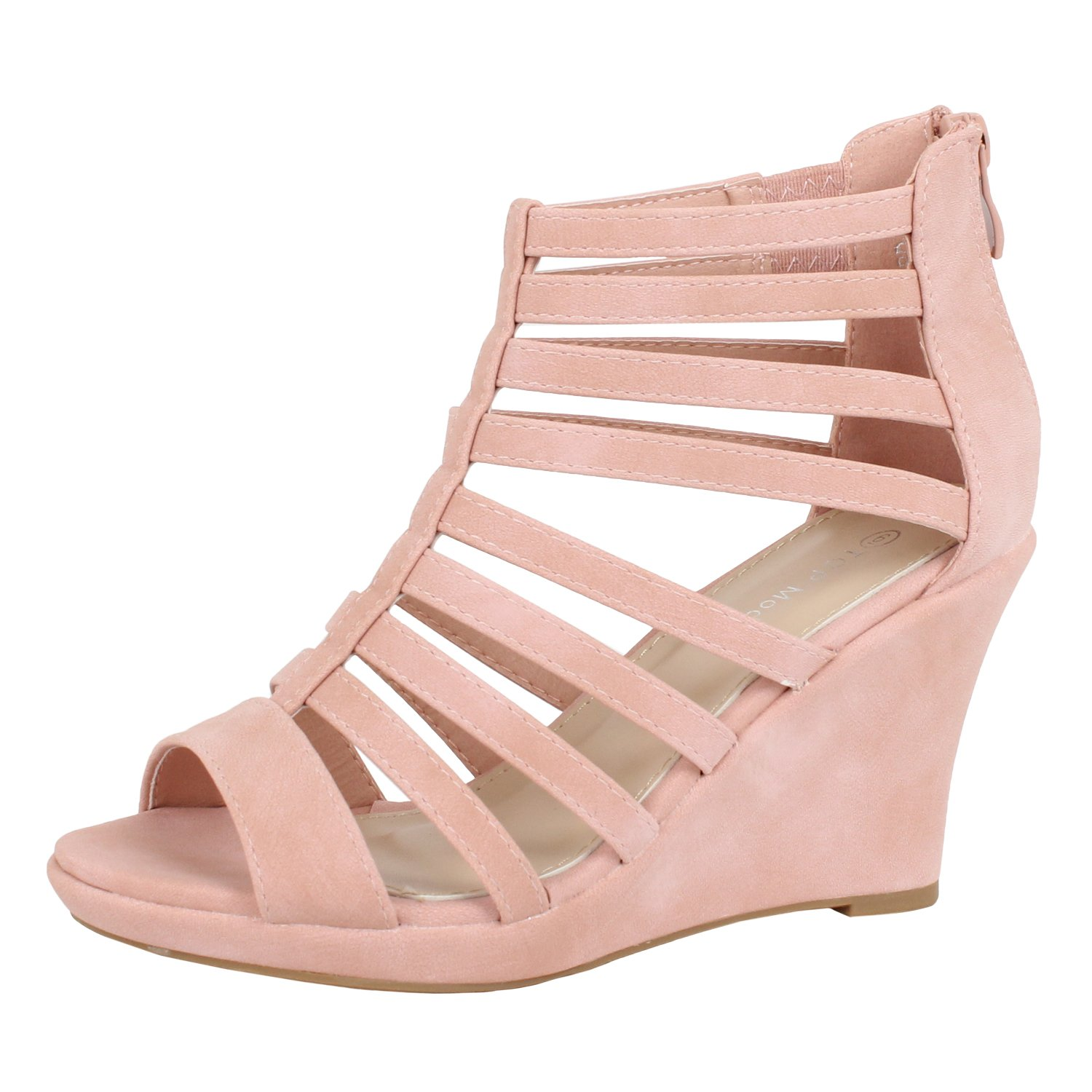 Top Moda Womens Lord-7 Gladiator Inspired Bird Cage Strappy Wedge
