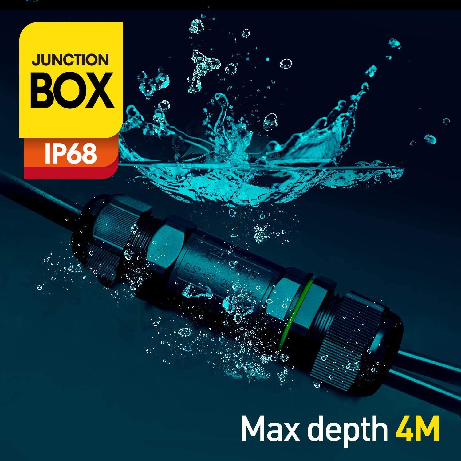 Waterproof Junction Box 3-pin IP68 3-Way Outdoor Cable Connector Electrical for 3mm-7mm and 4mm-14mm Diameter Cable Pack of 2