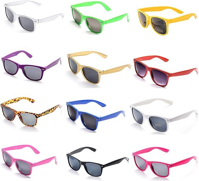 OAONNEA 12 Pares Años 80 Neon Gafas de Sol de Colores Fiesta Adulto (Multicolor): Amazon.es: Juguetes y juegos