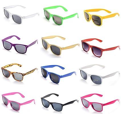 OAONNEA 12 Pares Años 80 Neon Gafas de Sol de Colores Fiesta Adulto